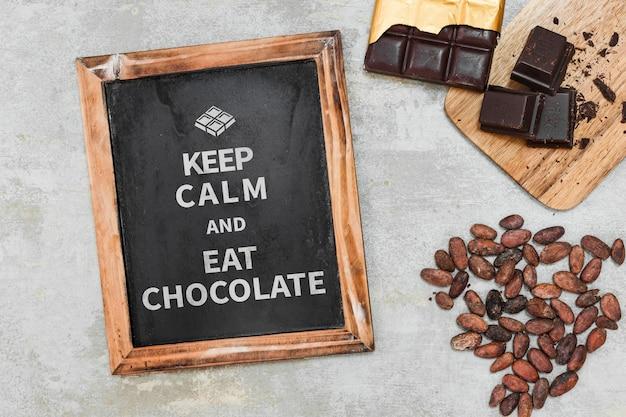 Slate mockup with chocolate concept Free Psd