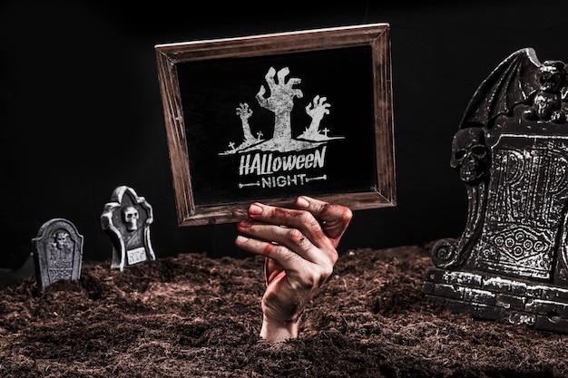 Slate mockup with halloween concept Free Psd