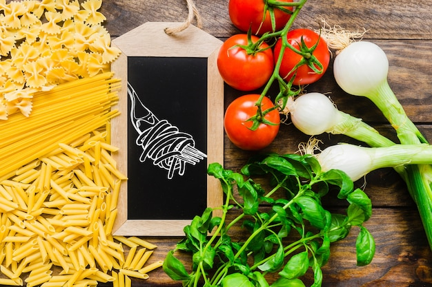 Slate mockup with healthy pasta concept Free Psd