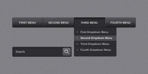Sleek navigation menu bar Free Psd