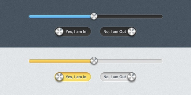 Sleek progress bar and toggle buttons PSD file | Free Download