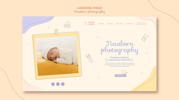 Sleeping baby wearing white clothes landing page Free Psd