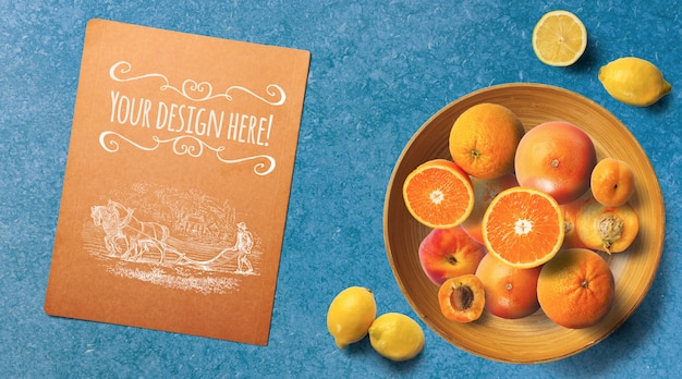 Sliced citrus fruits top view mockup Premium Psd