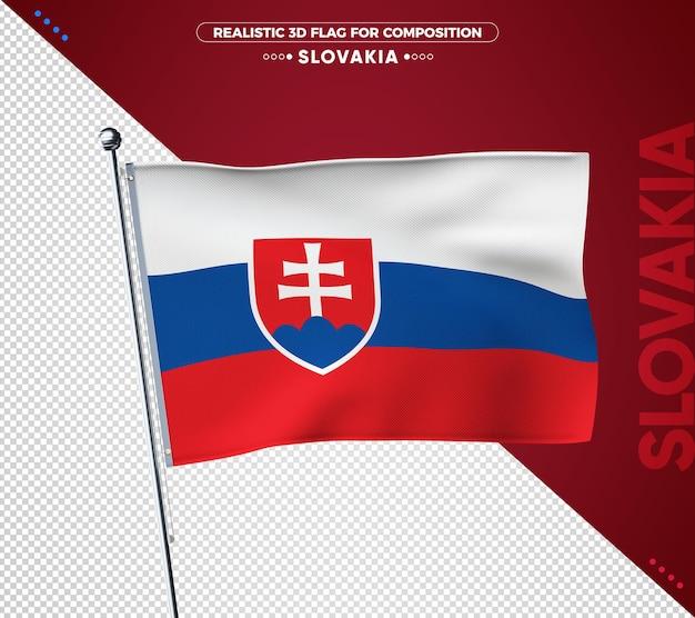 슬로바키아 구성에 대 한 3d 질감 된 플래그 프리미엄 PSD 파일