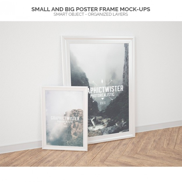 small and big poster frame mock ups free psd