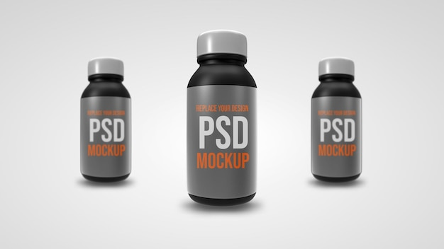 작은 병 모형 3d 렌더링 디자인 프리미엄 PSD 파일