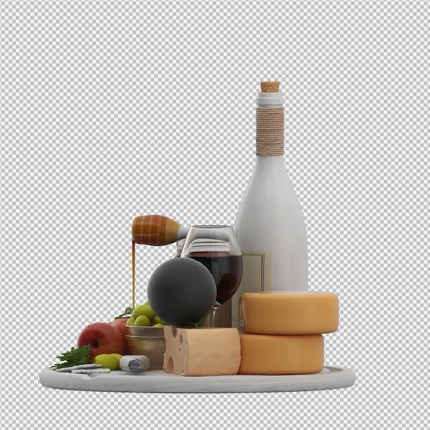 Small table with provolone wine olives apple honey 3d render Premium Psd