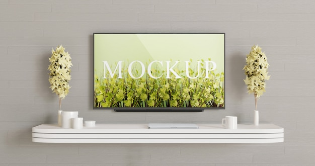 Smart tv screen mockup on the the wall. television display Premium Psd