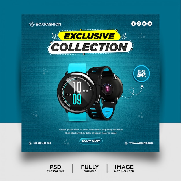 Smart watch brand product social media post banner Premium Psd