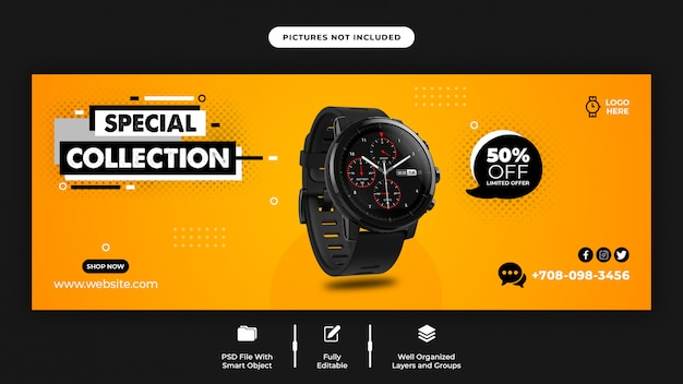 Smart watch sale facebook cover page template Premium Psd