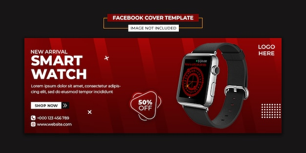 Smart watch social media and facebook cover template Premium Psd