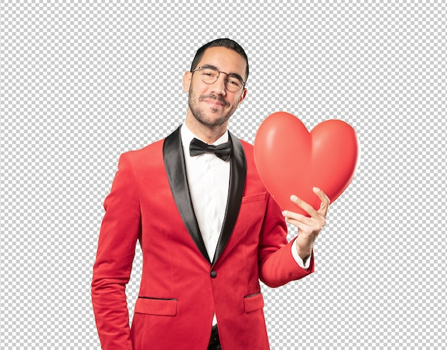 Smart young man at valentine's day Premium Psd