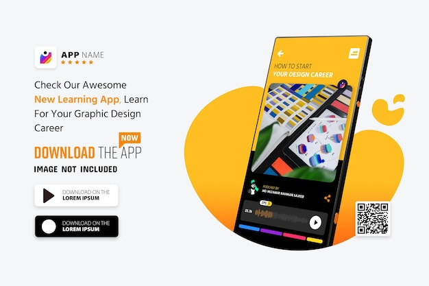 Qr 코드 스캔이 포함 된 스마트 폰 앱 프로모션 목업, 로고 및 다운로드 버튼 프리미엄 PSD 파일