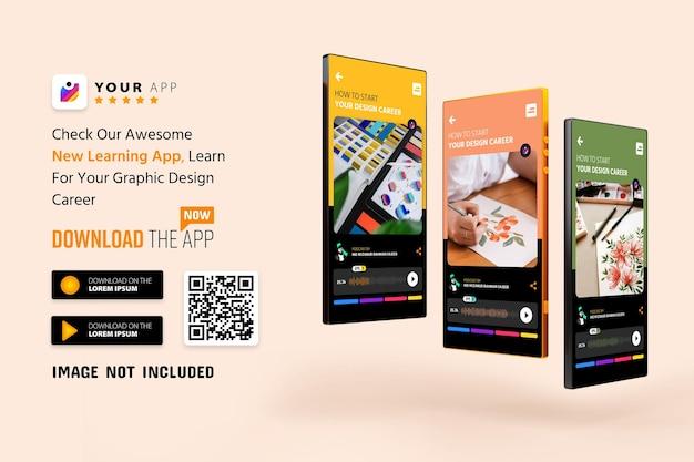 スマートフォンアプリのプロモーションのモックアップ、ロゴ、スキャンqrコード付きのダウンロードボタン Premium Psd
