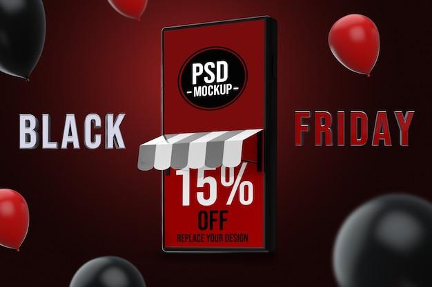 Смартфон черная пятница дизайн макета Premium Psd