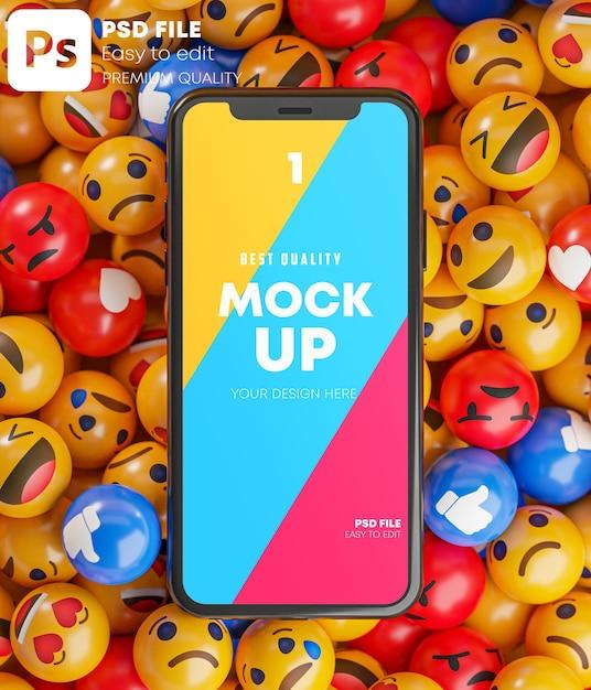 Smartphone between a bunch of emoji emoticons in 3d rendering mockup Premium Psd