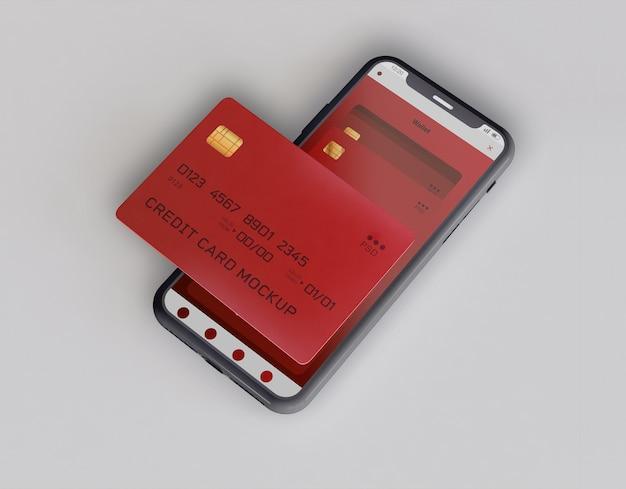 Smartphone e carta di credito mockup Psd Gratuite