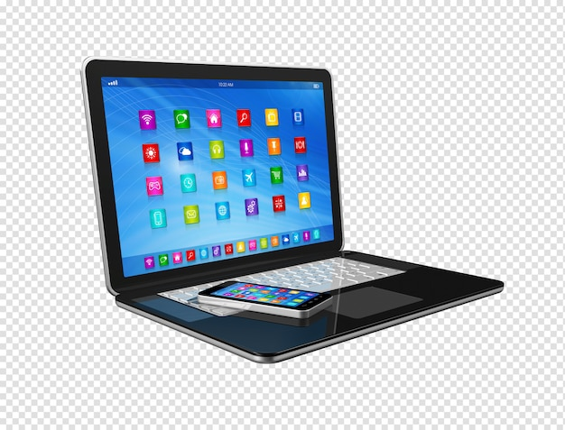 Smartphone and laptop Premium Psd