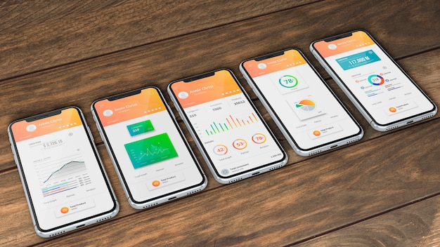 Smartphone mockup for apps Free Psd