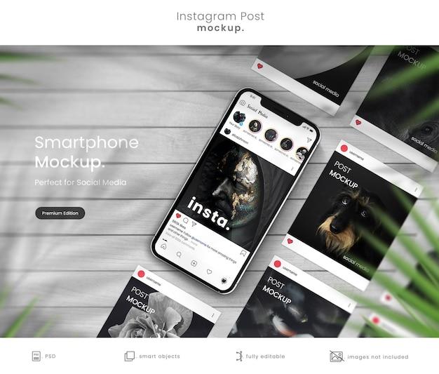 Smartphone mockup to display instagram posts Premium Psd