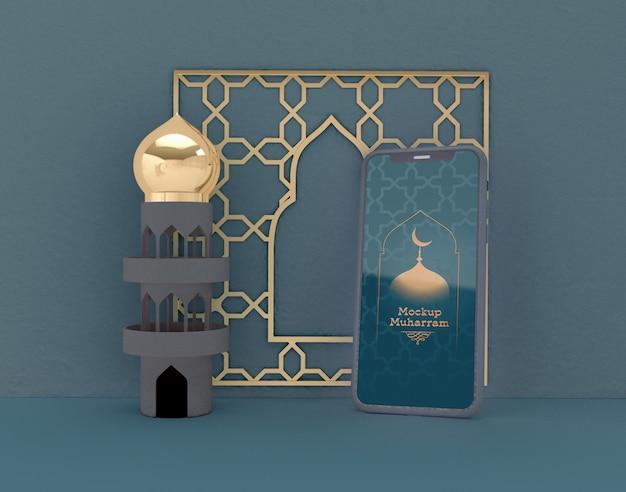 Смартфон макет. ид мубарак. празднование мусульманского сообщества. Premium Psd