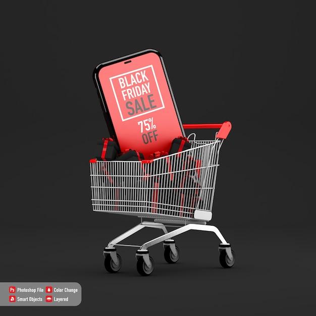 ショッピングカートとボックスギフト内のブラックフライデーのスマートフォンモックアップ Premium Psd