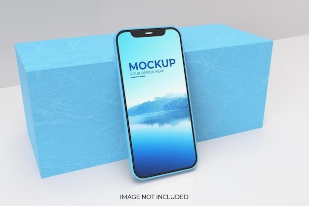 リアルな3dレンダリングでのスマートフォンのモックアップ Premium Psd