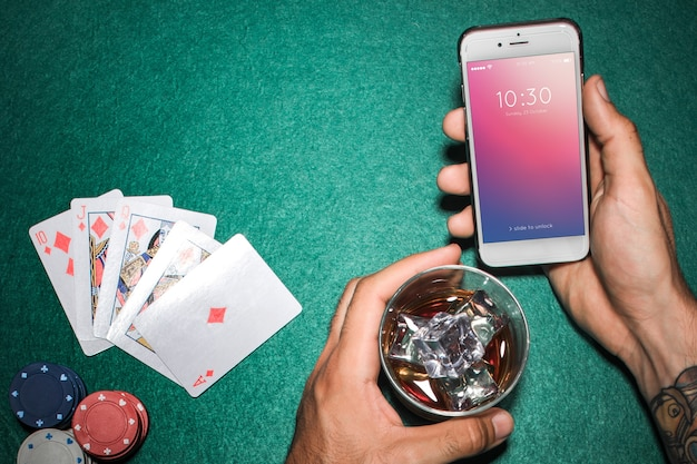 Smartphone mockup with casino concept Free Psd