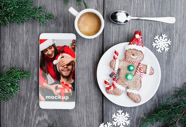 Smartphone mockup with christmas concept Free Psd