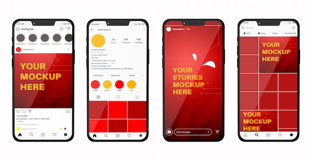Smartphone mockup with social media feed and stories