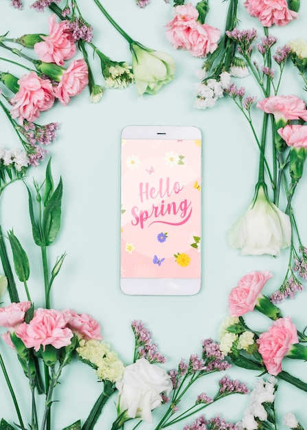 Smartphone mockup with spring concept Free Psd