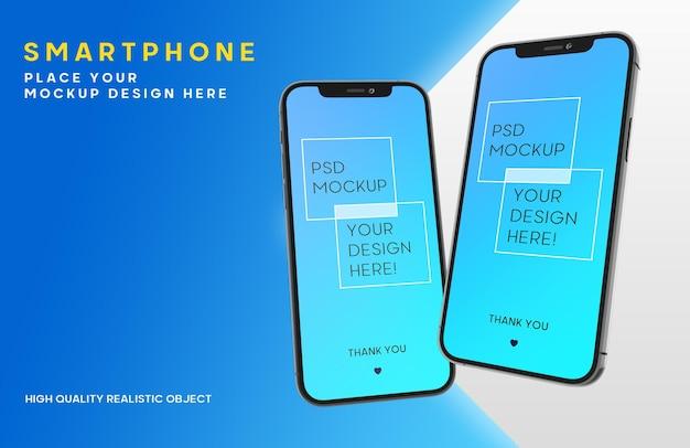 スマートフォンのモックアップ Premium Psd