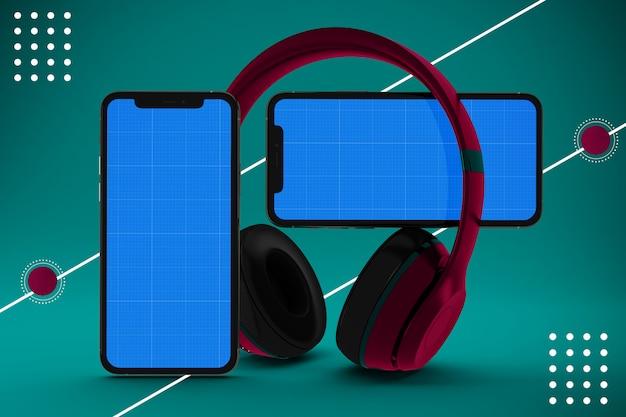 Музыкальное приложение для смартфона с наушниками, макет экрана Premium Psd