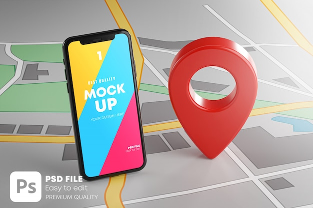 Smartphone and red gps pin on map mockup