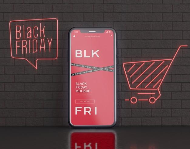 Mockup dello schermo dello smartphone. concetto di venerdì nero Psd Gratuite