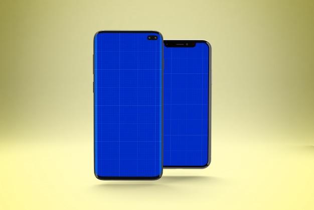 Макет экрана смартфона, вид спереди и сзади Premium Psd