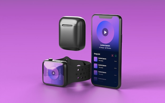 Smartphone smartwatch and earbud case device mockup Premium Psd