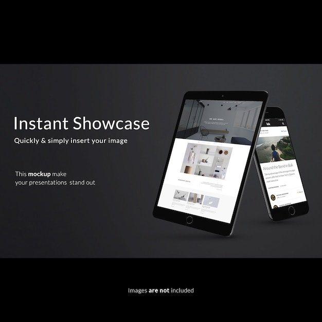Smartphone and tablet on black background mock up Free Psd