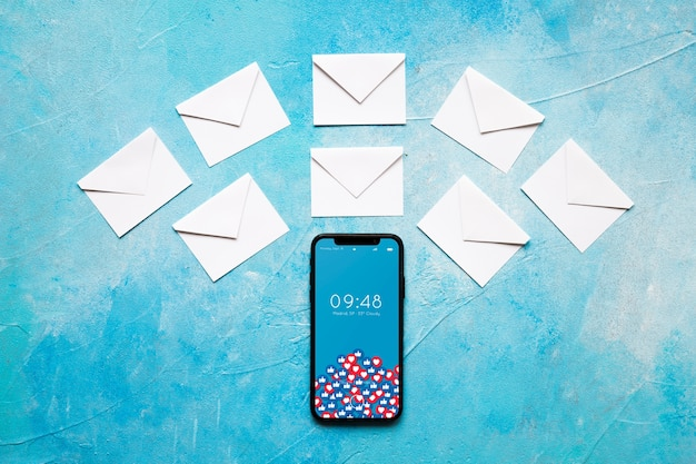 Smartphone and tablet mockup with email concept Free Psd
