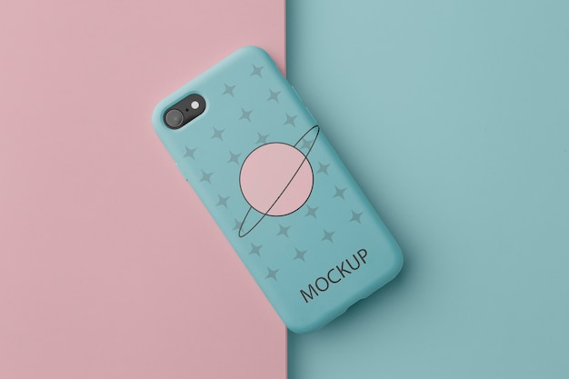 Smartphone with case minimalistic design mock-up Free Psd