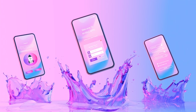 Smartphone with login page and colorful liquid background Free Psd