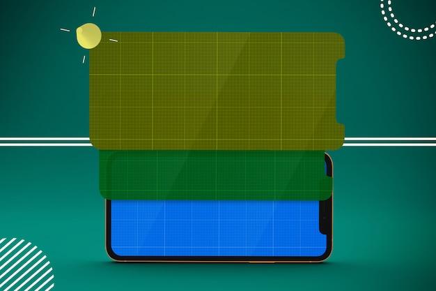 다층 화면 이랑 스마트 폰 프리미엄 PSD 파일