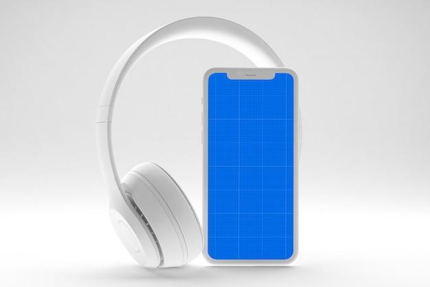 Смартфон с макетом экрана и наушниками, концепция музыкального приложения Premium Psd