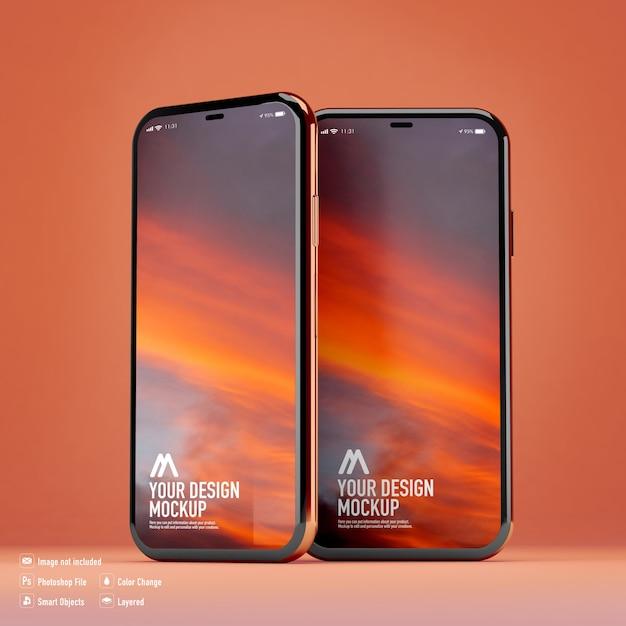 分離されたスマートフォンのモックアップ Premium Psd