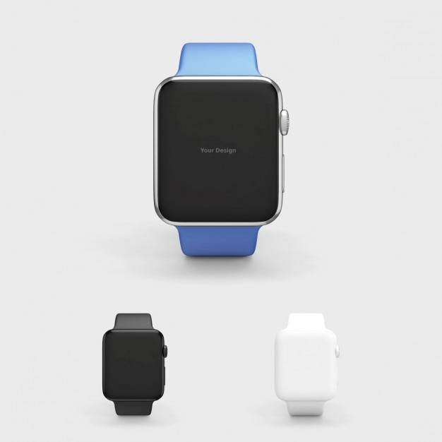 Smartwatch mock up with blue watchstrap Free Psd