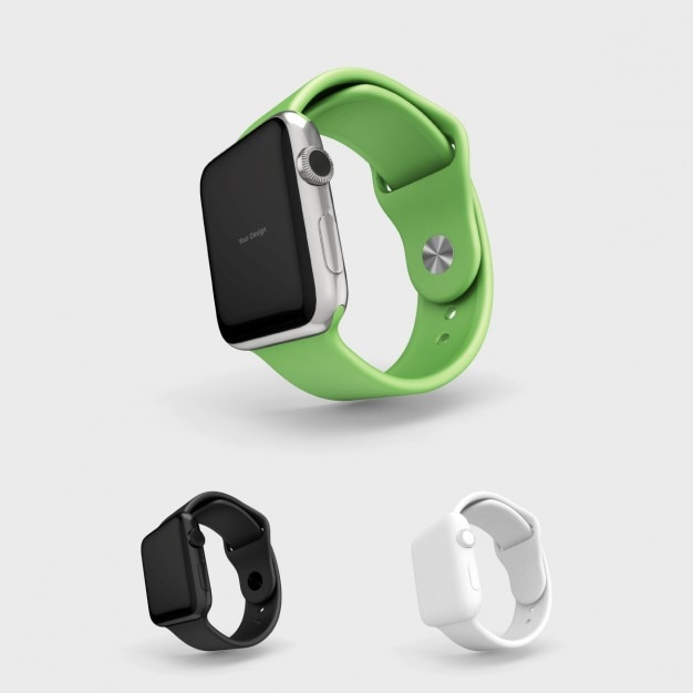 Smartwatch mock up with green watchstrap Free Psd