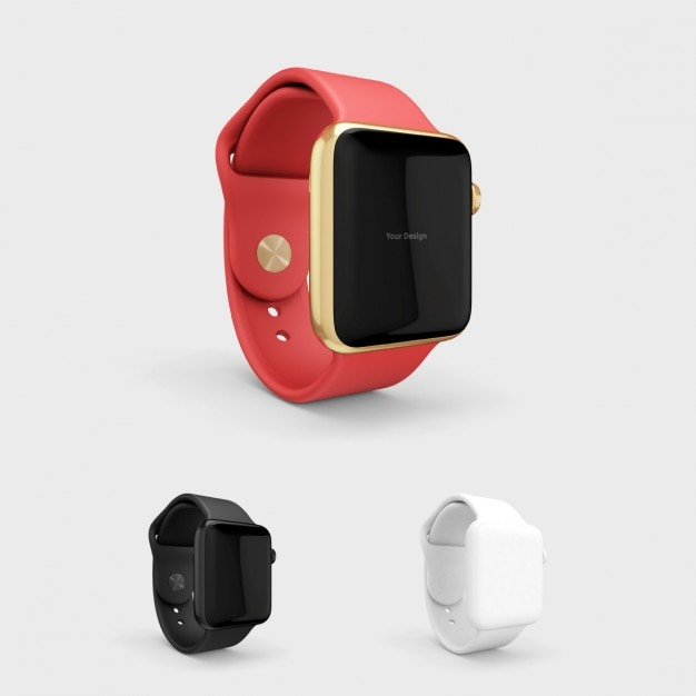 Smartwatch mock up with red watchstrap Free Psd