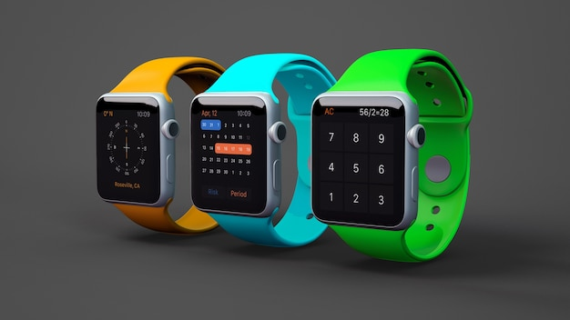 Smartwatch mockup in three colors Free Psd