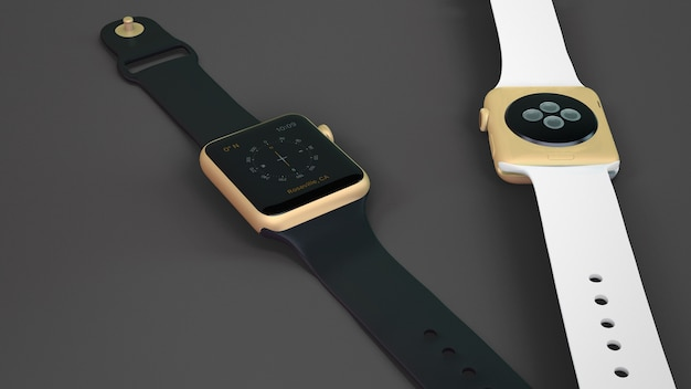 Smartwatch mockup of two Free Psd