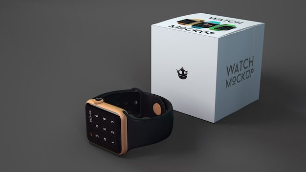 Smartwatch mockup with box Free Psd